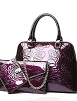 Women Bag Sets PU All Seasons Formal Casual Event/Party Wedding Office & Career Shell Zipper Purple Black Gold Blue