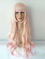 Long Pink Wavy Natural Hair Wigs Women Cosplay Synthetic False Hair High Temperature Fiber Hair