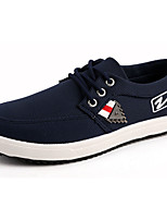 Men's Sneakers Comfort Spring Fall PU Casual Lace-up Flat Heel Black Blue Flat