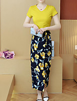 Women's Casual Simple Summer T-shirt Pant Suits,Floral Round Neck Short Sleeve Micro-elastic