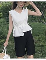 Для женщин Повседневные Лето Рубашка Брюки Костюмы V-образный вырез,Современный Однотонный Без рукавов