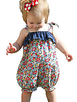 Baby Girls Fashion Floral Print One-PiecesCotton Terylene Summer Jumpsuit Camisole Short Pant