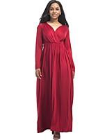 Для женщин На каждый день Большие размеры Уличный стиль Свободный силуэт С летящей юбкой Платье Однотонный,V-образный вырез МаксиДлинный