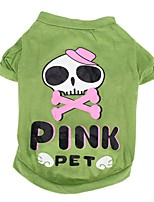 Dog Costume Shirt / T-Shirt Dog Clothes Cosplay Skulls Green