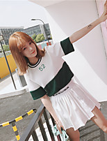 Women's Daily Casual Casual Summer T-shirt Skirt Suits,Print Round Neck Short Sleeve Micro-elastic