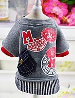 Chien Manteaux Sweatshirt Vêtements pour Chien Décontracté / Quotidien Mode Lettre et chiffre Gris Rouge