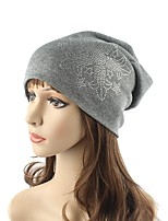 Women's Cotton Polyester Beanie Floppy Hat Headwear Cute Casual Daily Knitwear Solid Rhinestone Fall Winter Knitting Cap Beige/Grey/Navy Blue/Black