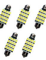 5pcs carro festoon dome lâmpada 39 milímetros 1.5w 16smd 3528 chip 80-100lm branco 6500-7000k dc12v luz de leitura luzes da placa
