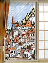 Window Film Window Decals Style European Architecture PVC Window Film- (60 x 116)cm