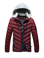 Men's Regular Padded Coat,Simple Daily Casual Solid Striped-Cotton Polyester Cotton Long Sleeve