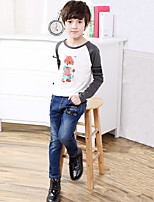 Boys' Stylish And Cool Comfortable Cotton Letter Pocket Label Splicing  Washing Leisure Denim Trousers