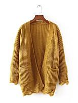 Standard Cardigan Da donna-Per uscire Casual Semplice Tinta unita Colletto alla coreana Manica lunga Cotone Primavera AutunnoSottile