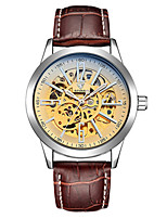 Men's Skeleton Watch Mechanical Watch Japanese Automatic self-winding Noctilucent Leather Band Black Brown