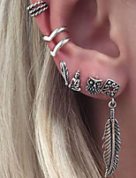Women's Clip Earrings Bohemian Costume Jewelry Alloy Leaf Jewelry For Daily