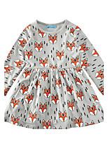 Girl's Animal Print Dress Cotton Spring Fall Long Sleeve Fox Kids Girls Fashion Dress Children Clothes