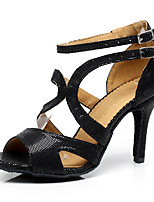 Women's Latin Synthetic Microfiber PU Heels Indoor Buckle Black 2