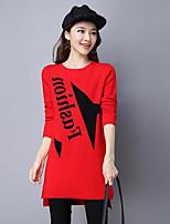 Lungo Pullover Da donna-Casual Tinta unita Con stampe Rotonda Manica lunga Cotone Autunno Medio spessore Media elasticità