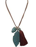 Pendant Necklace Leaves brownTassel Rock Euramerican Long Pendant Sweater Chain Necklace Women's  Party Daily Chrome Jewelry Gifts