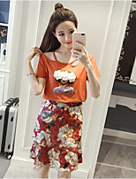 Women's Daily Casual Casual Summer T-shirt Skirt Suits,Floral Print Round Neck Short Sleeve Micro-elastic