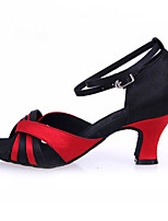 Women's Latin Silk Sandals Performance Buckle Black/Red 2