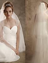 Elegant Simple Wedding Veil Two-tier Elbow Veils Cut Edge Pencil Edge Tulle