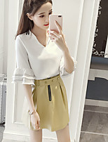 Women's Daily Casual Simple Summer Blouse Skirt Suits,Solid Round Neck Short Sleeve Micro-elastic