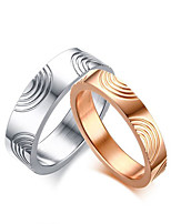 2PCS Couple's Rings Simple  Elegant Rose Gold Titanium Steel Ring Jewelry For Wedding Anniversary Party/Evening Engagement Daily