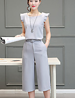 Women's Daily Casual Simple Summer T-shirt Pant Suits,Solid Round Neck Sleeveless