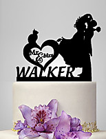 Personalized Acrylic Couple And Cat Wedding Cake Topper