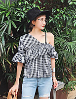 Women's Going out Sexy Street chic Shirt,Striped One Shoulder Short Sleeves Cotton