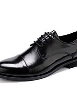 Men's Wedding Shoes Formal Shoes Real Leather Cowhide Spring Fall Office & Career Formal Shoes Black Under 1in