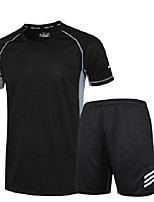 Running T-Shirt with Shorts Short Sleeves Moisture Wicking Quick Dry Clothing Suits for Running/Jogging Exercise & Fitness Loose Black
