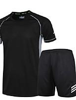 Laufshirt mit kurzer Laufhose Kurzarm Feuchtigkeitsabsorbierend Rasche Trocknung Kleidungs-Sets für Rennen Übung & Fitness Lose Schwarz