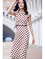 AGD Women's Going out Casual/Daily Simple Cute A Line DressPolka Dot Round Neck Midi Sleeveless Polyester Taffeta Spring Summer Mid Rise