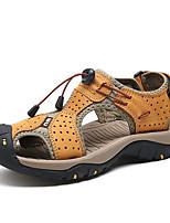 Men's Sandals Comfort Nappa Leather Summer Outdoor Water Shoes Comfort Magic Tape Flat Heel Khaki Blue Brown Flat