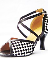 Women's Latin Faux Leather Sandals Performance Criss-Cross Stiletto Heel Blue Ruby Black Gold 3