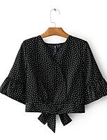 Women's Daily Simple Shirt,Print Shirt Collar Long Sleeve Cotton