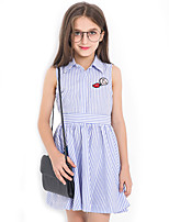 Girl's Stripes Dress,Cotton Summer Sleeveless