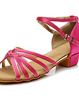 Women's Latin Silk Sneakers Performance Paillettes Low Heel Fuchsia Customizable