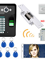 720P Wireless WIFI RFID Password Fingerprint Recognition  Video Door Phone Doorbel Intercom System  Electric Strike Lock