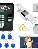 720p sans fil wifi rfid mot de passe reconnaissance d'empreintes digitales vidéo porte téléphone porte-porte système d'interphone verrou
