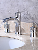 Chrome Modern Tub And Shower Widespread / Pre Rinse with  Brass Valve Two Handles Three Holes for  Antique Copper  faucet