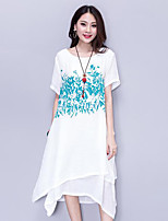 Women's Plus Size Casual/Daily Vintage Street chic Loose Dress,Print Round Neck Asymmetrical Short Sleeve Cotton Summer Mid Rise