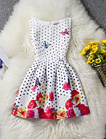 Girl's Polka Dot Floral Dress,Cotton Polyester Summer Sleeveless
