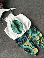 Girls' Print Sets,Polyester Summer Sleeveless Clothing Set