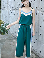 Women's Casual/Daily Simple Summer Tank Top Pant Suits,Color Block Strap Sleeveless