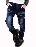 Boys' Stylish And Cool Comfortable Cotton Embroidery Wings Splicing  Washing Leisure Denim Trousers