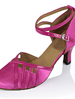 Women's Latin Silk Sandals Performance Buckle Cuban Heel Fuchsia Gold 2