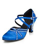 Для женщин Латина Сатин На каблуках Для закрытой площадки Стразы На толстом каблуке Черный Синий 5 - 6,8 см