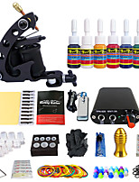 Solong Tattoo New Beginner 1 Pro Machine Tattoo Kit  Power Supply 7 color ink set TK105-2